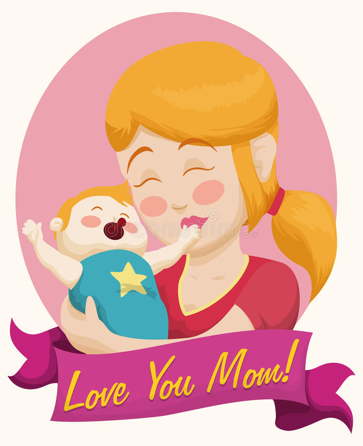 Blonde Mom and Baby with a Ribbon for Mother's Day, Vector Illustration stock photography