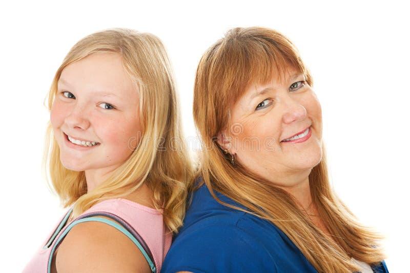 Blonde Mutter und Tochter stockfotos