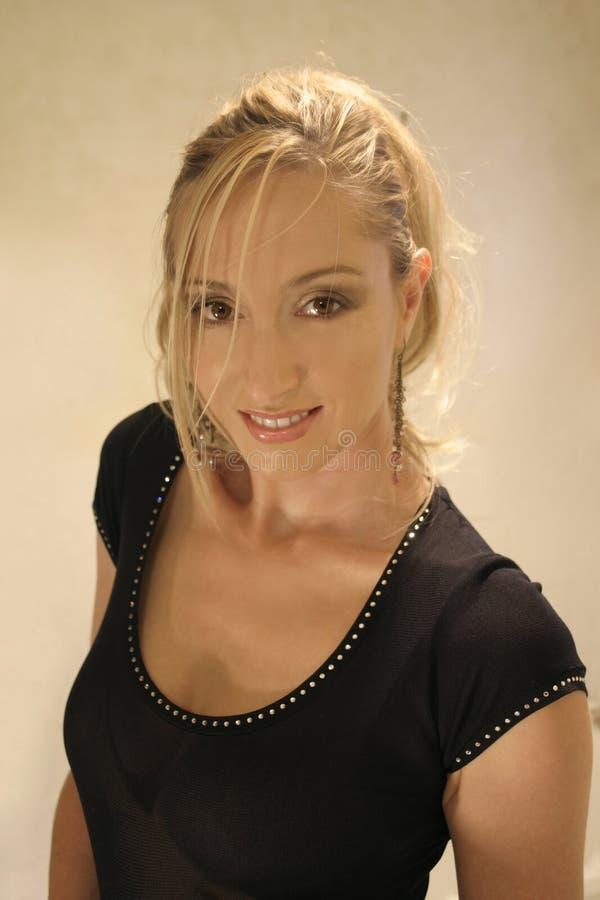Blonde No Preto Imagem de Stock Royalty Free