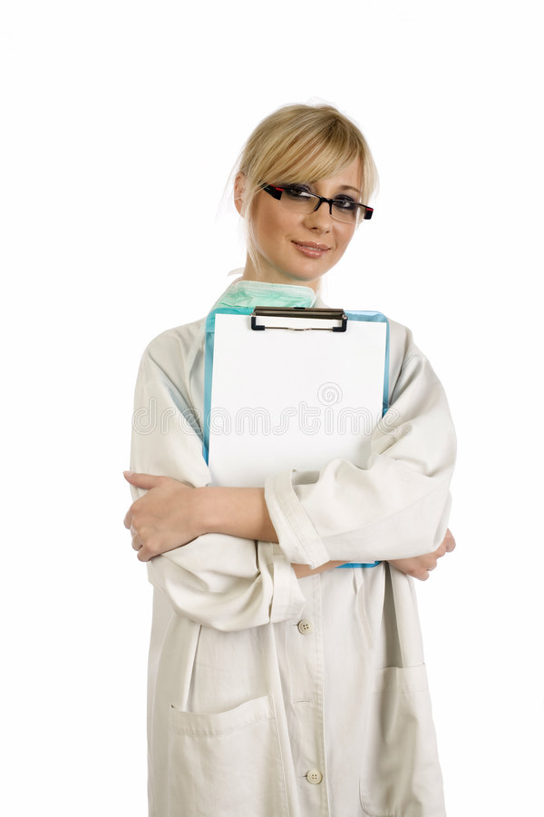 Download Blonde Nurse With Blue Notepad Royalty Free Stock Photos - Image: 5533848