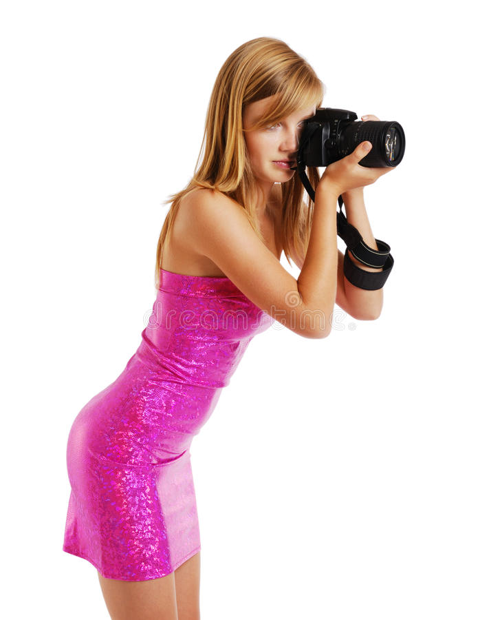 Blonde Photographing Royalty Free Stock Images