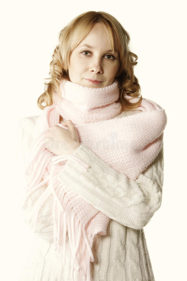 Blonde in pink scarf