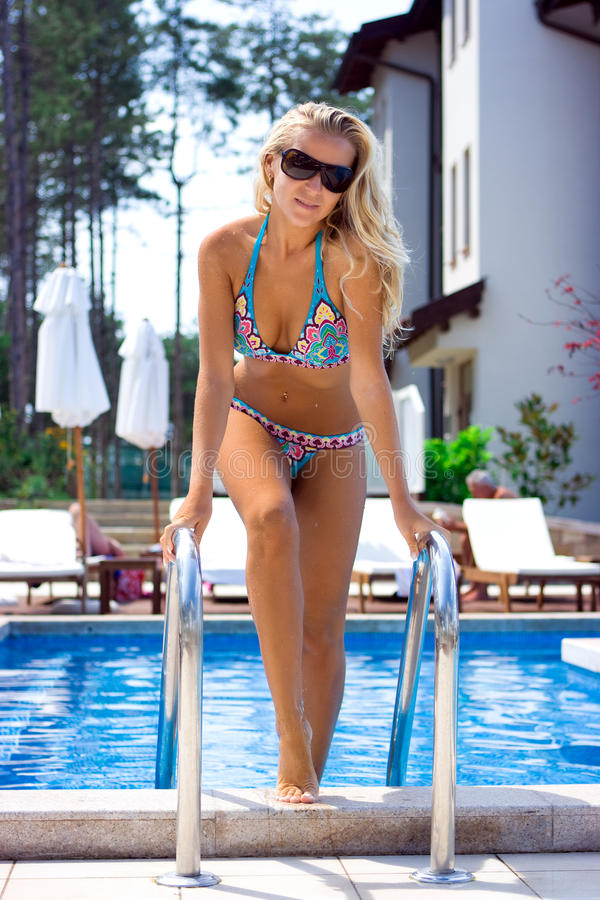 Download Blonde in the pool stock photo. Image of beautiful, hair - 11189530
