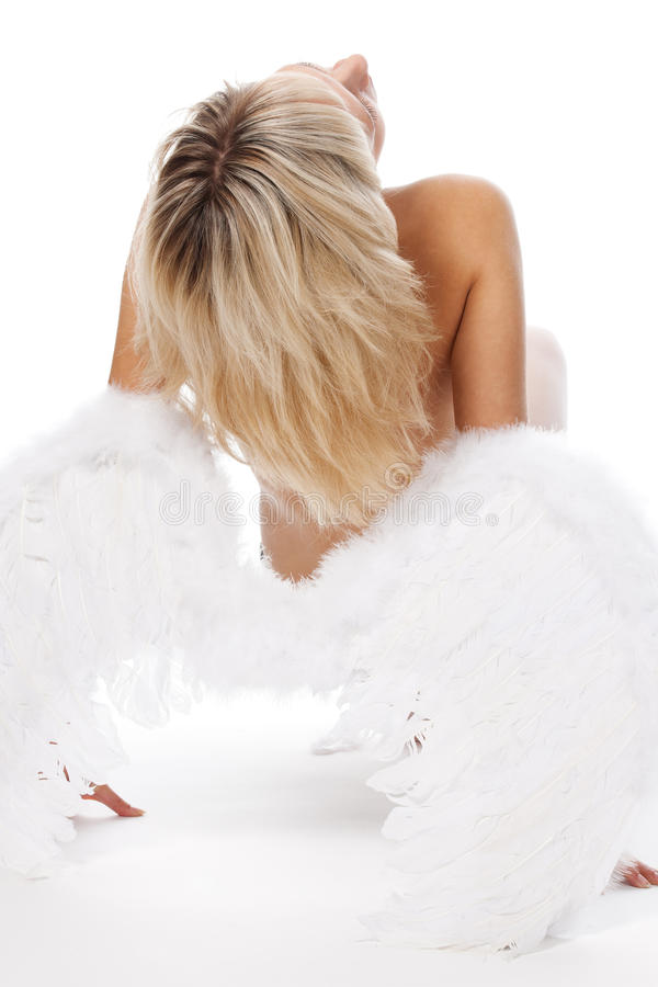 Blonde Posing With Angel Wings Stock Photos