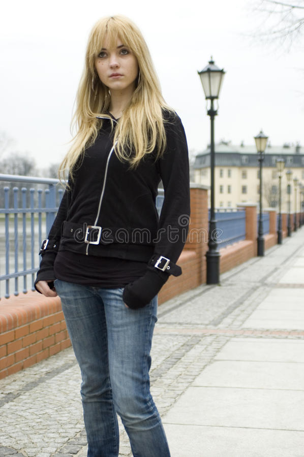 Download Blonde, pretty teenager stock image. Image of stands - 10688673