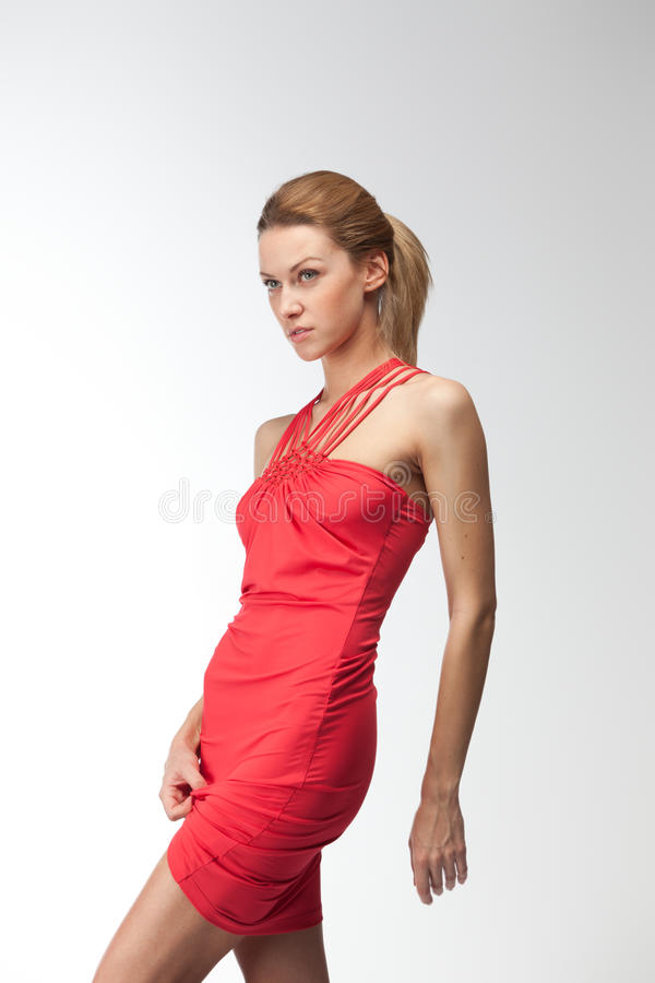 Download Blonde in red dress stock image. Image of expressing - 23298803
