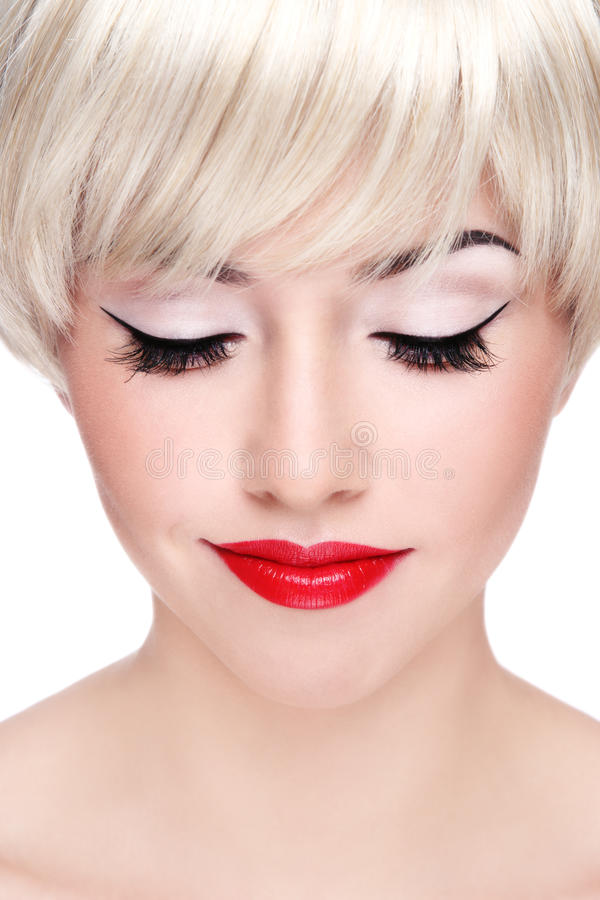 Download Blonde with red lips stock photo. Image of anti, girl - 17867300