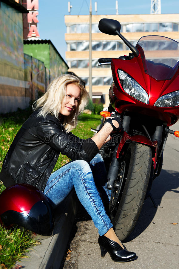 Download Blonde and red motorcycle stock image. Image of silvery - 12322339