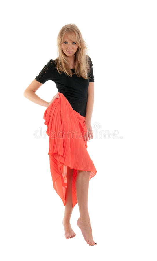 Download Blonde in a red skirt stock image. Image of caucasian - 21472635
