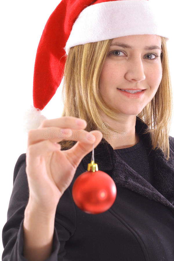 Download Blonde Santa Girl Holding Ornament Stock Image - Image of person, decoration: 15636107