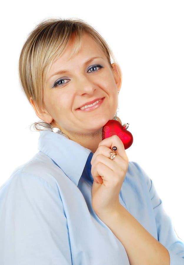Blonde schöne Frau mit Innerem. stockfotografie