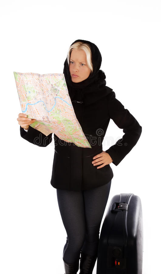 Blonde Searching Her Hotel On Map Stock Photos