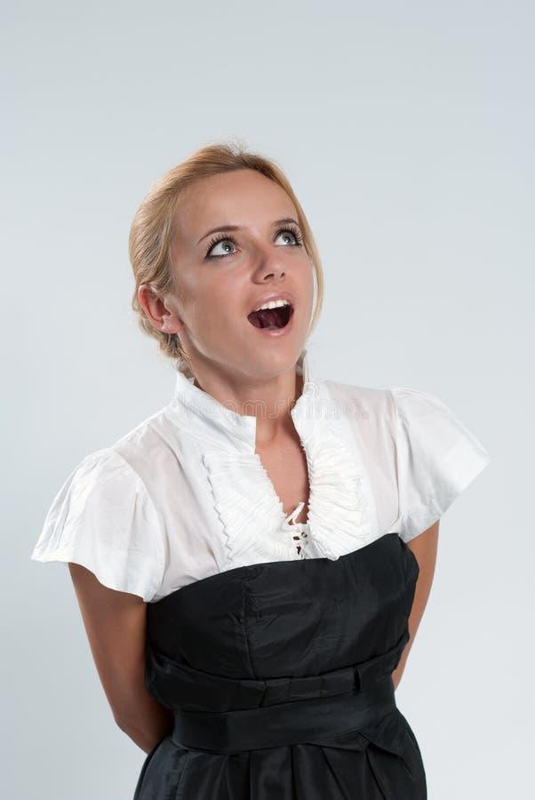 Blonde sexy étonnée ! image libre de droits