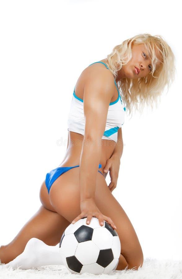 Blonde 'sexy' com esfera imagem de stock