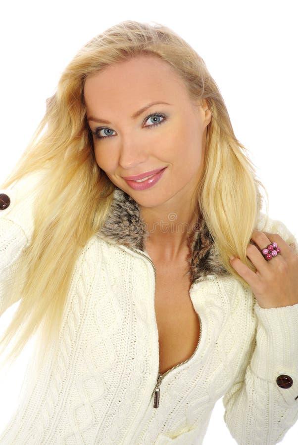 Blonde sexy con capelli lunghi fotografia stock
