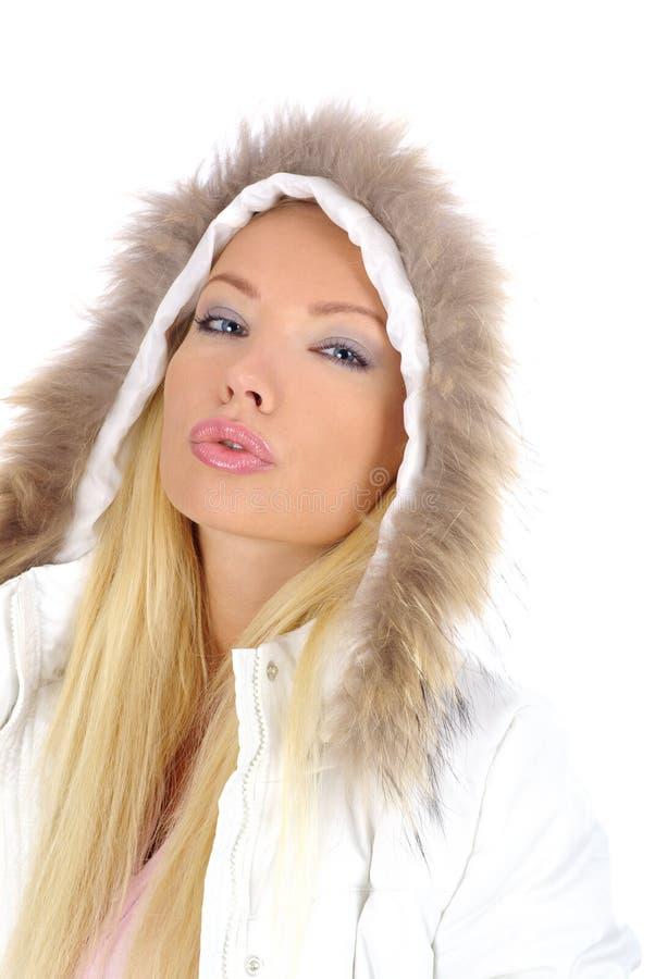 Blonde sexy di inverno fotografia stock