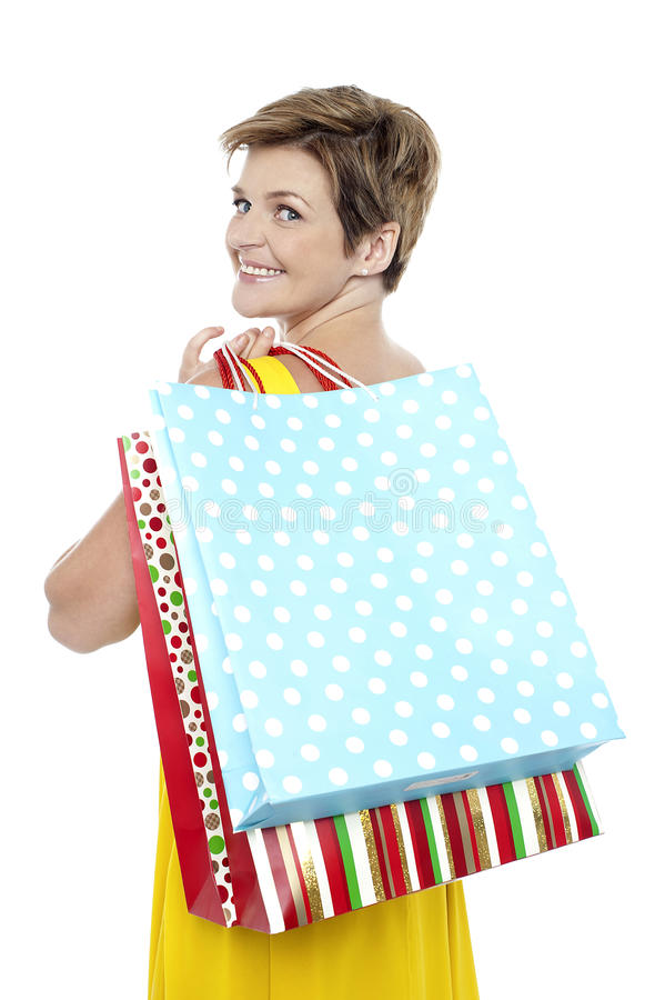 Download Blonde with shopping bags stock image. Image of back - 27544649