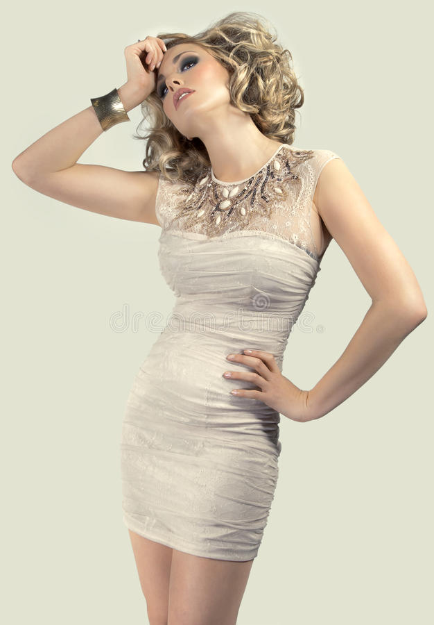 Download Blonde in a short dress stock image. Image of pretty - 18961097