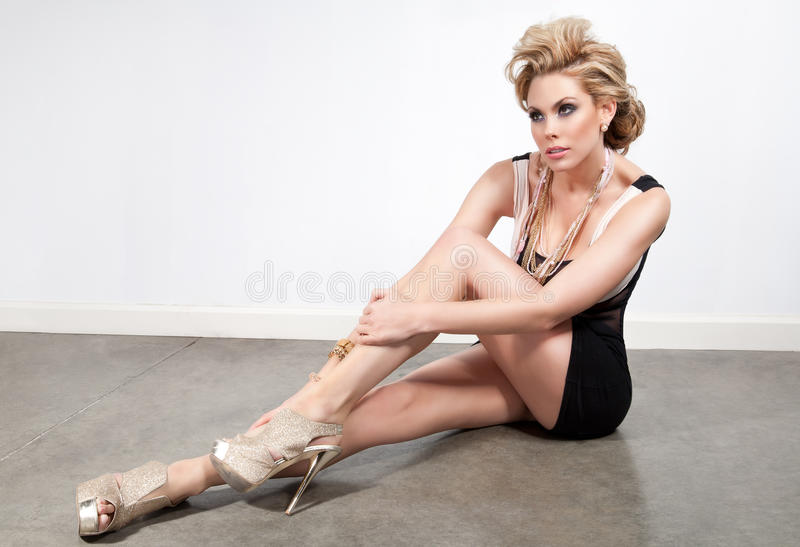 Download Blonde in a short dress stock image. Image of lady, female - 18961105