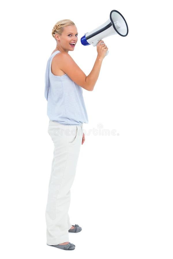 Download Blonde Shouting Through Megaphone Stock Image - Image: 32512917