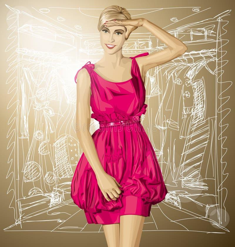 Download Blonde Sorprendido Vector En Vestido Rosado Ilustración del Vector - Ilustración de boutique, hermoso: 42434331