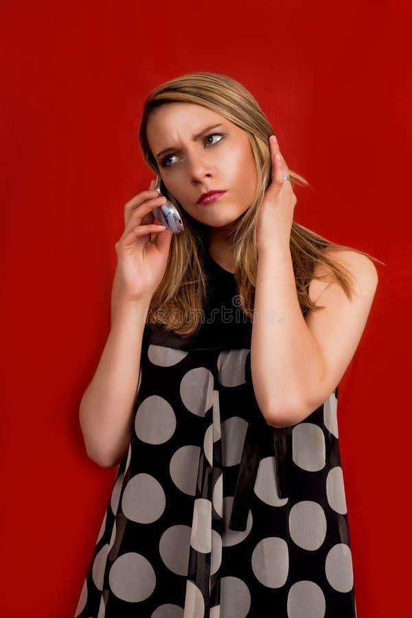 Blonde Speaking On Phone Stock Photo