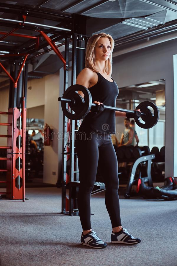 Blonde sportive female in sportswear doing exercise on biceps with a barbell in a fitness club or gym. royalty free stock images