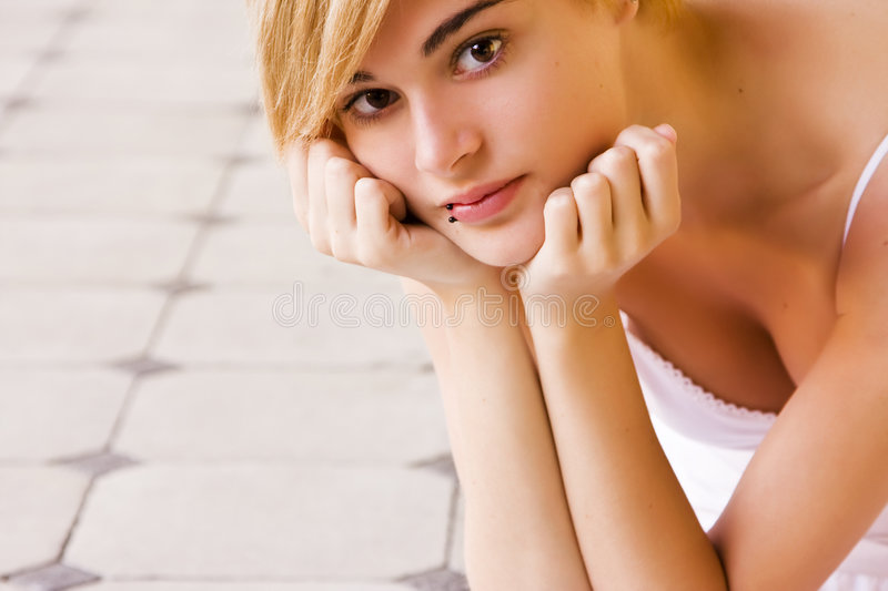 Download Blonde staring at camera stock image. Image of pierced - 7191533