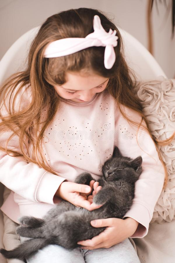 Girl with cat royalty free stock image