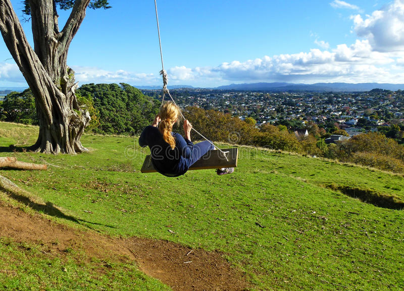 Blonde on the Swing royalty free stock photos