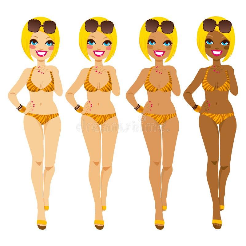 Blonde Tanning Tones. Full body blonde woman in tiger bikini showing tanning tones from natural to dark tan royalty free illustration