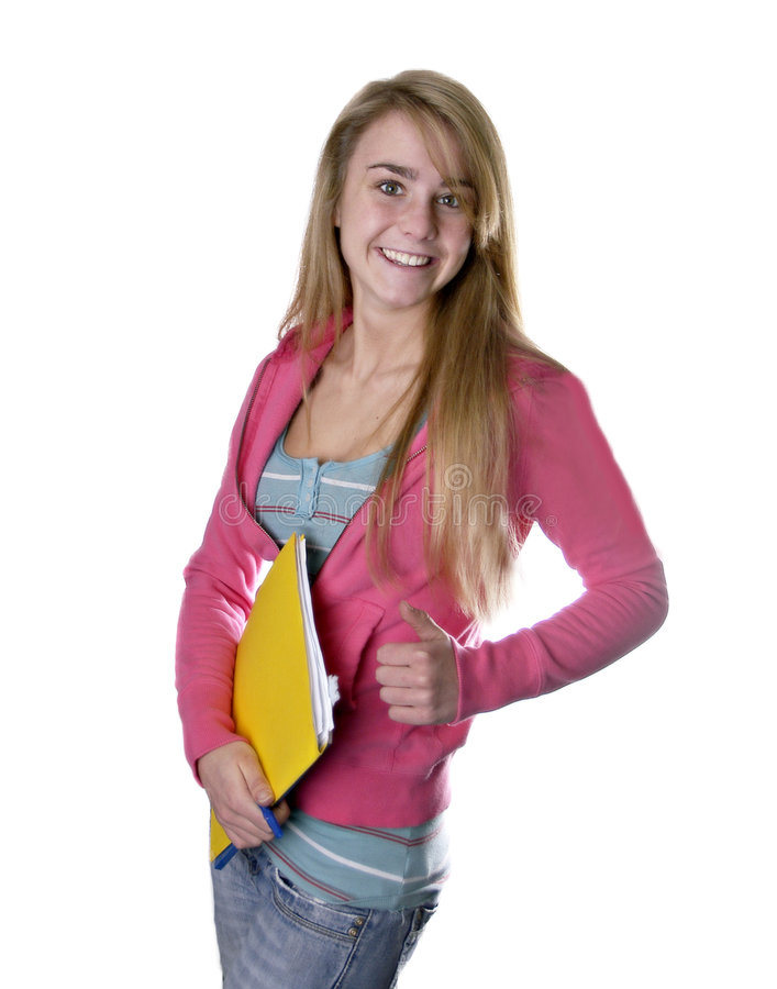 Download Blonde Teen Girl Student Giving Thumbs Up Stock Image - Image: 4413839