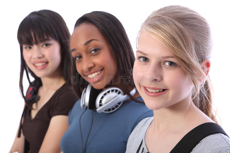 Download Blonde Teenage Student Girl And Ethnic Friends Stock Image - Image: 21425837