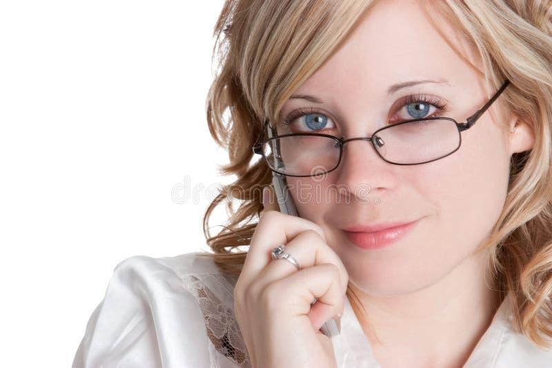 Blonde Telefon-Frau stockfotos