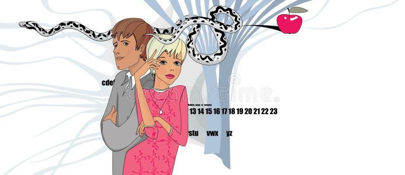 Blonde-tjejen, hennes älskade man och det ihärdiga templet med kunskapsäpplet och hennes nervnätverk Humoristisk illustration royaltyfri illustrationer