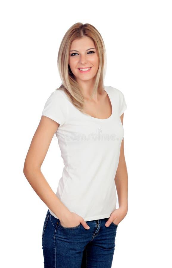 Blonde toevallig meisje royalty-vrije stock afbeeldingen