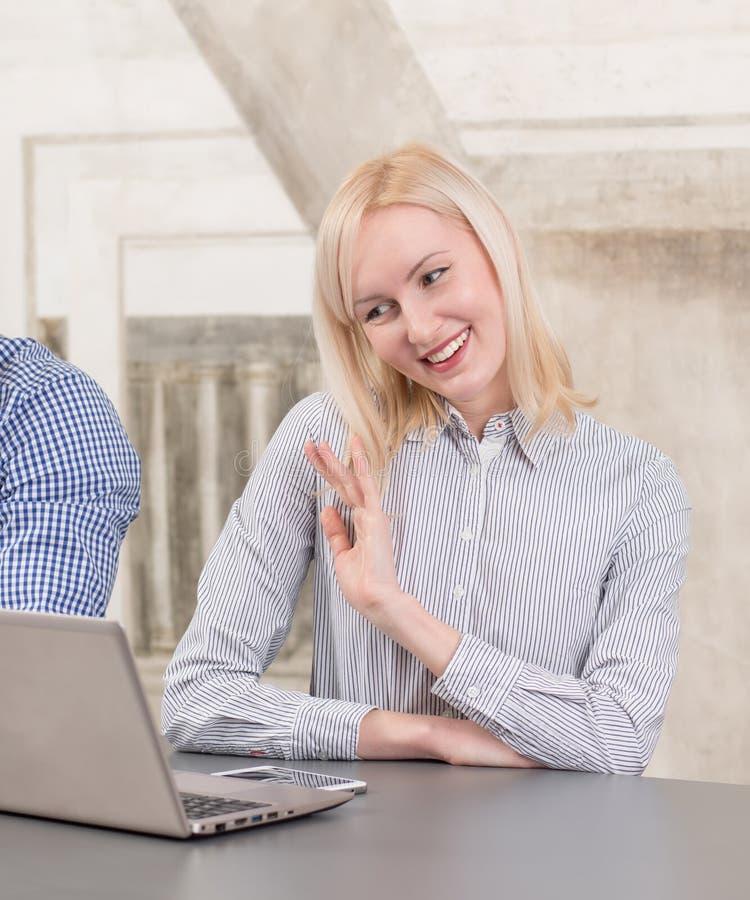 Blonde using Internet stock images