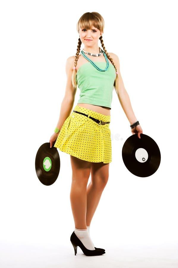 Blonde with vinyl records stock photo