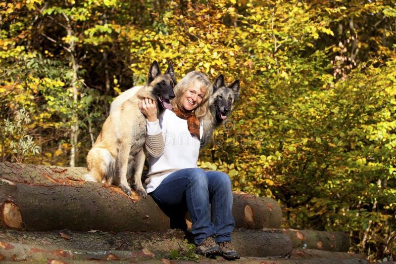 Blonde vrouw met Belgische herders stock afbeeldingen