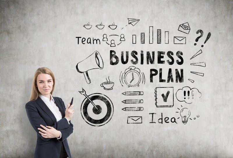 Blonde vrouw met een teller dichtbij een schets van het businessplan op een concr stock afbeelding