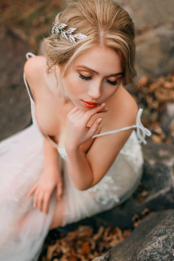 blonde vrouw met freckles op schoonheidsgezicht Verkleurd zilverkleurig haar royalty-vrije stock foto