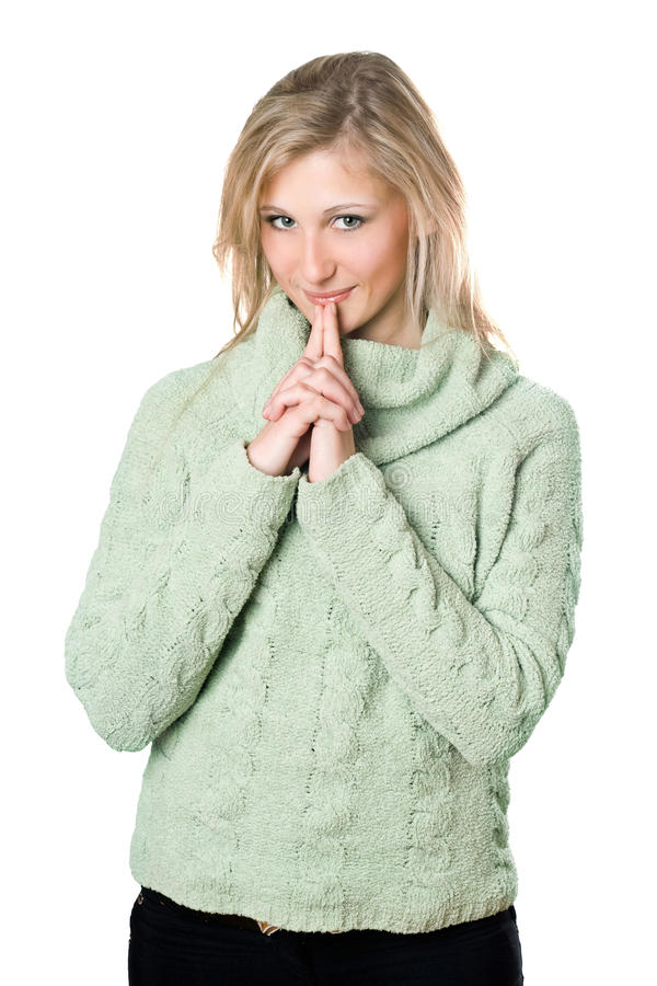 Blonde In Warm Sweater Royalty Free Stock Image