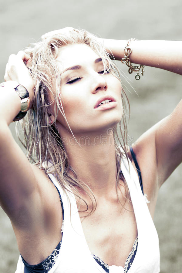 Download Blonde with wet hair stock image. Image of girl, adult - 31708015