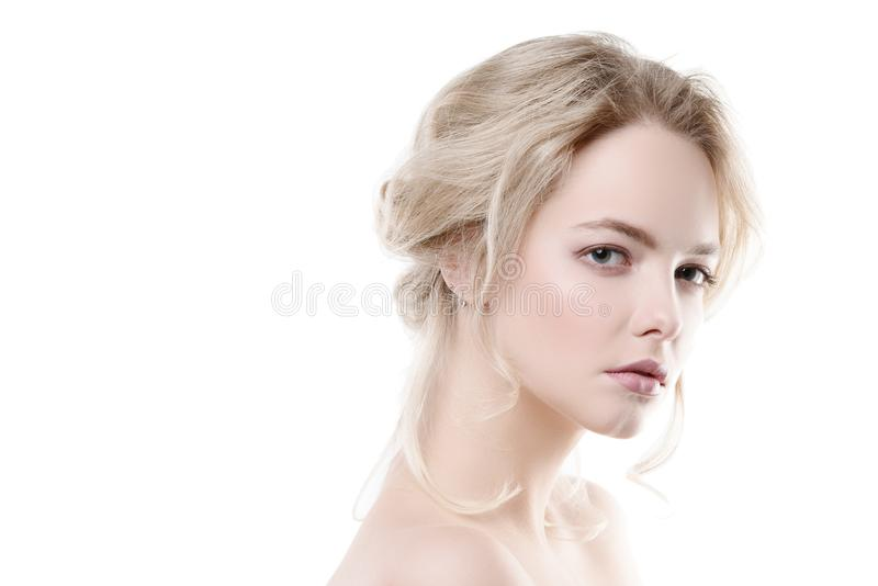 Blonde on white background royalty free stock photography