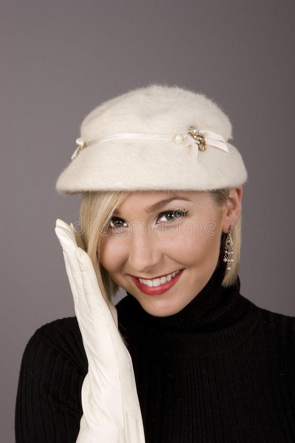 Free Blonde White Fur Hat One Glove Royalty Free Stock Photos - 4526518