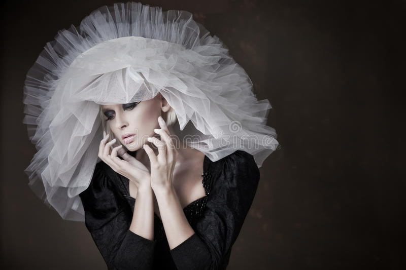 Download Blonde with white hat stock image. Image of paint, creative - 17985723