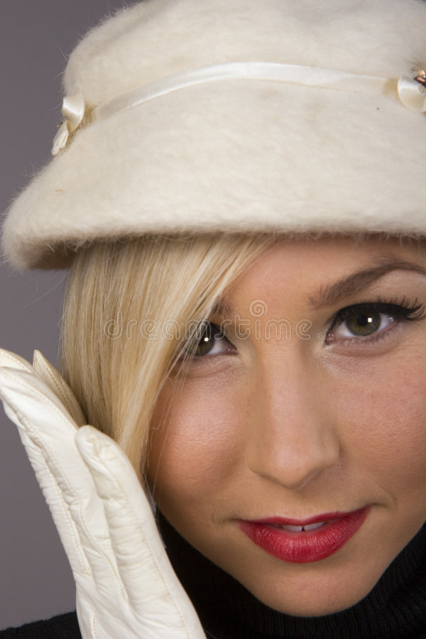 Blonde White Hat Closeup stock photo