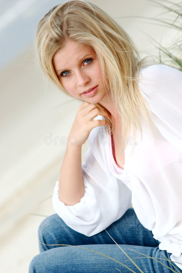 Blonde woman stock image