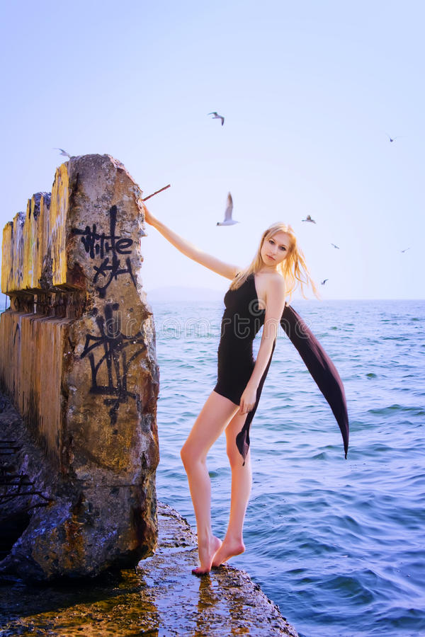 Download Blonde woman stock image. Image of freedom, blue, full - 18016491