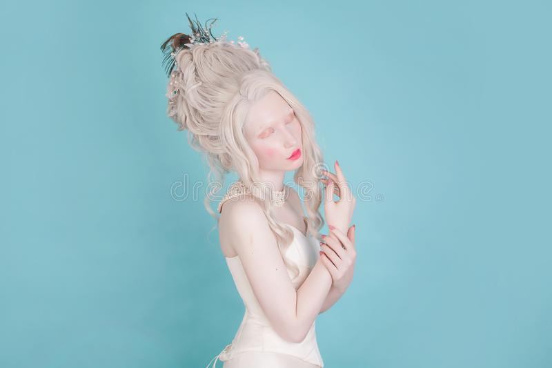 Blonde woman with beautiful luxurious rococo hairstyle royalty free stock image